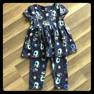 Mermaid baby Gap Set 3T legging & Tunic